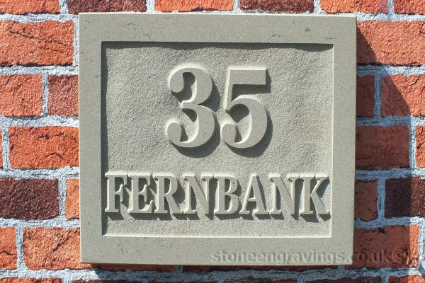 """Carved in-relief house sign. York stone with square panel. """"35 fernbank"""" in modified """"Baskerfield"""" Font. fixed on hidden pin"""
