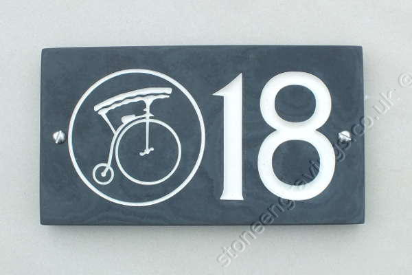 Unique custom house number sign with Penny Farthing image engraved.