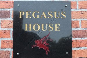 This was drawn up for an ex paratrooper. Pegasus is the cap badge symbol of the Parachute regiment. (Hence Pegasus bridge!) Engraved on Black Absoluto granite in Times Roman bold.