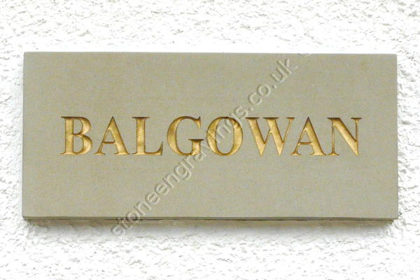 "Balgowan York stone house sign. The font is ""Times Roman Bold"" the lettering highlighted with gold paint."