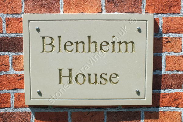Blenheim house house sign Times Roman font engraved line border