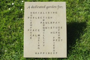 "Crossword Puzzle commemorative plaque. Made to be set in a school garden. It is nice to think of the generations of children looking at this for decades to come. Header font ""Chancery"", Puzzle font Arial bold."