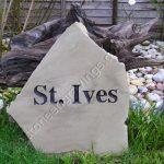 St Ives, random boulder house sign. Derby sandstone. Engravers Times font.