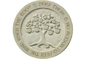 York stone 60 cm circle with Appletree motif and African traditional proverb engraved around the rim