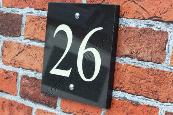 Classic style house number sign. Black granite. Times Roman numerals engrave and painted white.