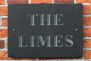 House name sign. The Limes. Welsh slate classic incised lettering. Times bold deep engraved and left unpainted.