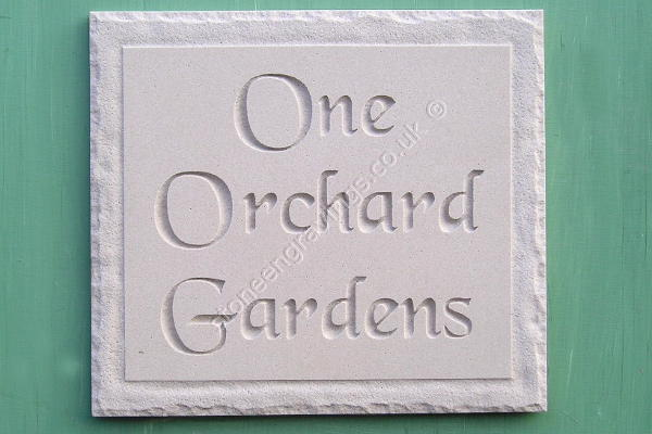Orchard Gardens sandstone house sign. Chancery font. Rock border edge.
