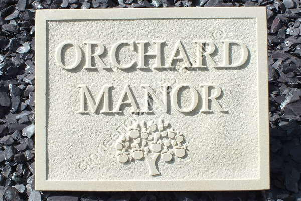 "Indian sandstone house name sign. Carved in-relief ""Orchard Manor"" and Appletree motif. Font is Times Roman standard."