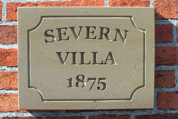 Classic York stone house with scallop line border. House name and date in Engravers times bold. fixed on hidden pins.