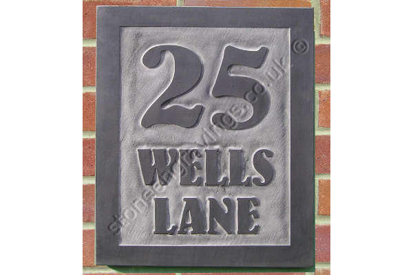 "Wells Lane large house sign in Welsh slate carved in-relief. The font is ""Bernhard art-nouveau""."