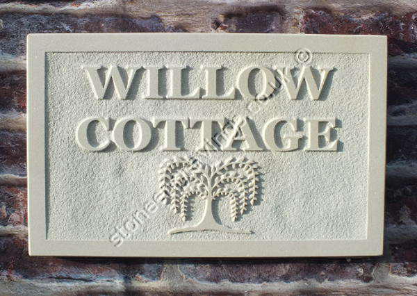 Willow cottage house sign. Carved in relief with a stylised willow tree motif. Engravers Times font.