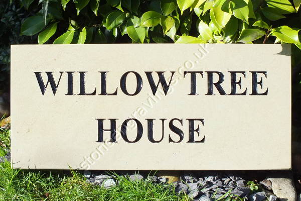 "Willow Tree House. York stone classic style house sign. Font ""Times Roman Bold"". Black painted lettering."