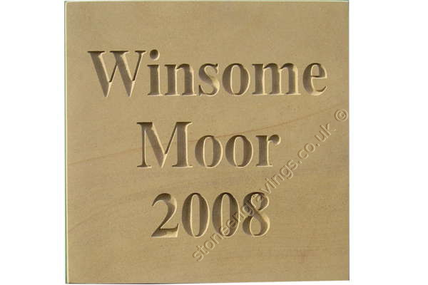 "Winsome moor house sign. Square shape lay-out over three lines. ""Times Roman Bold"" font. Lettering deep engraved and left unpainted."