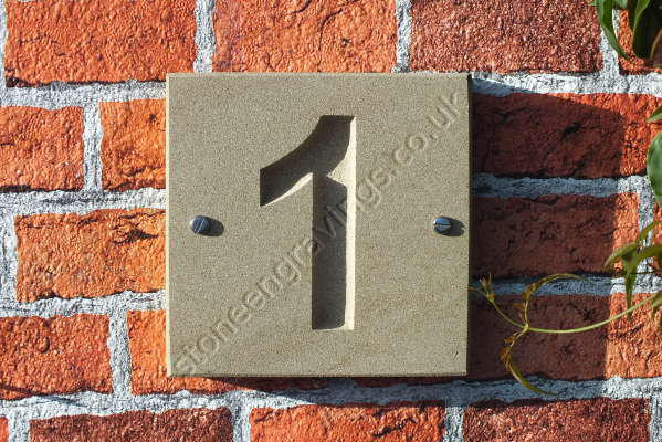 "House number. York stone ""Classic style"" Number deep incised. Font Arial bold. Fixed on screws."