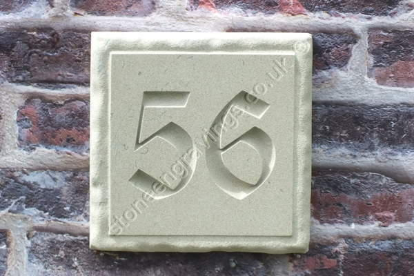 "York Stone number sign. With ""Rockborder"" edge, screw fixed. Number in Old English Text."