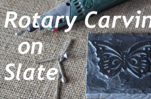 Butterfly carving on slate